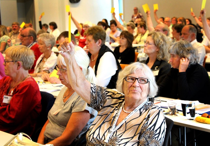 Deafblind woman is raising her hand with a yellow paper to vote on the annual assemble of FDDB
